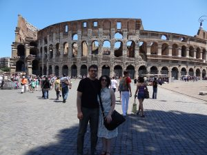 John and his wife, Christine, by the Colosseum