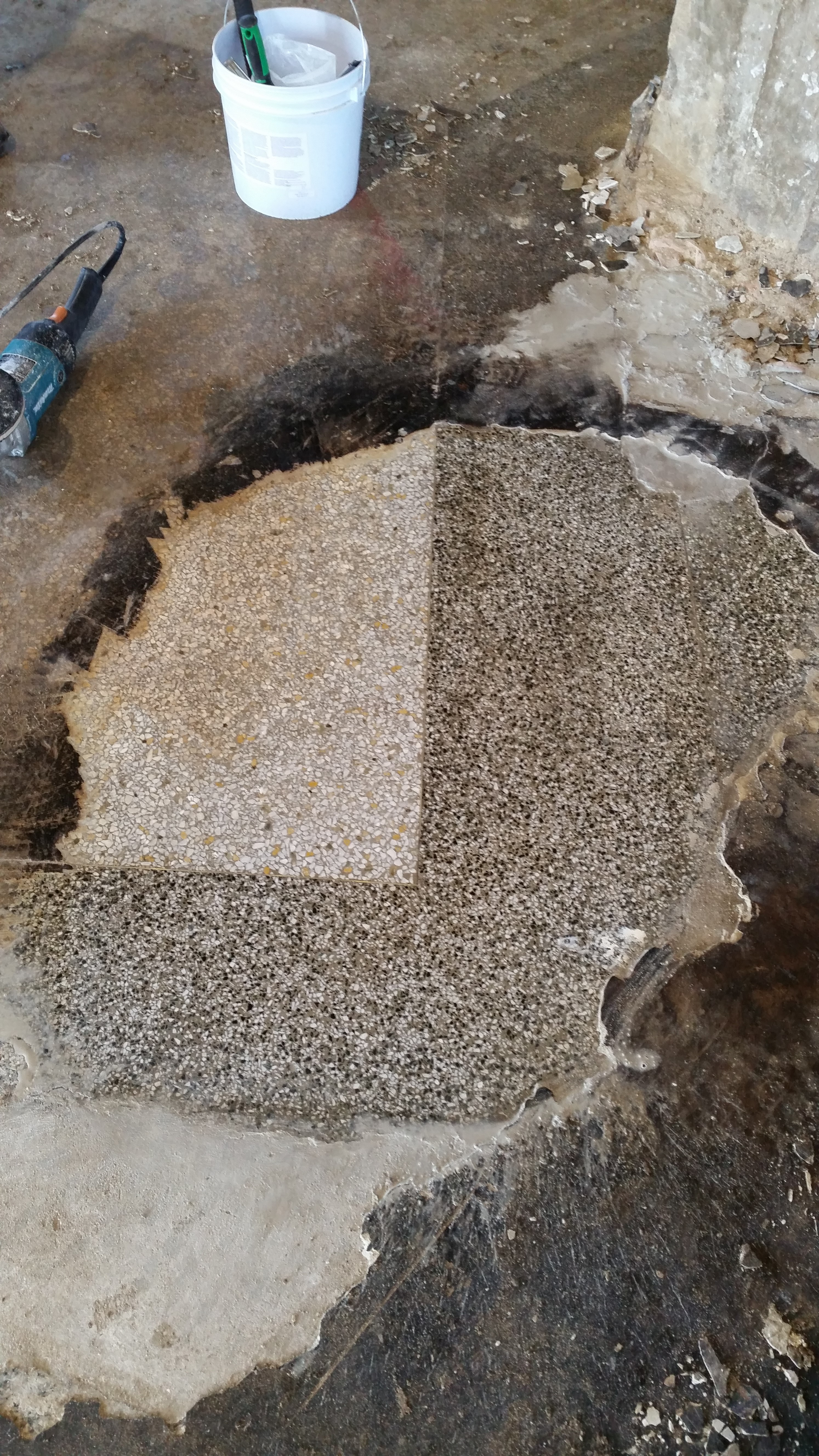 Terrazzo floor under concrete